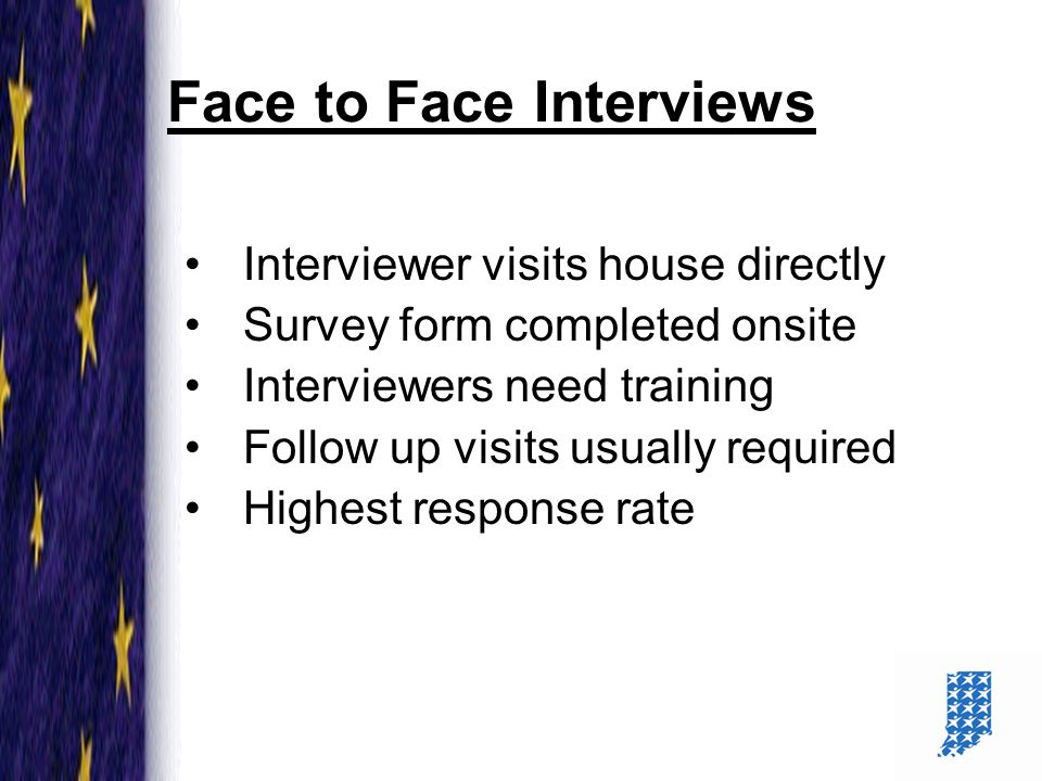 11 Face to Face Interviews Interviewer visits house directly Survey form completed onsite Interviewers need training Follow up visits usually required Highest response rate