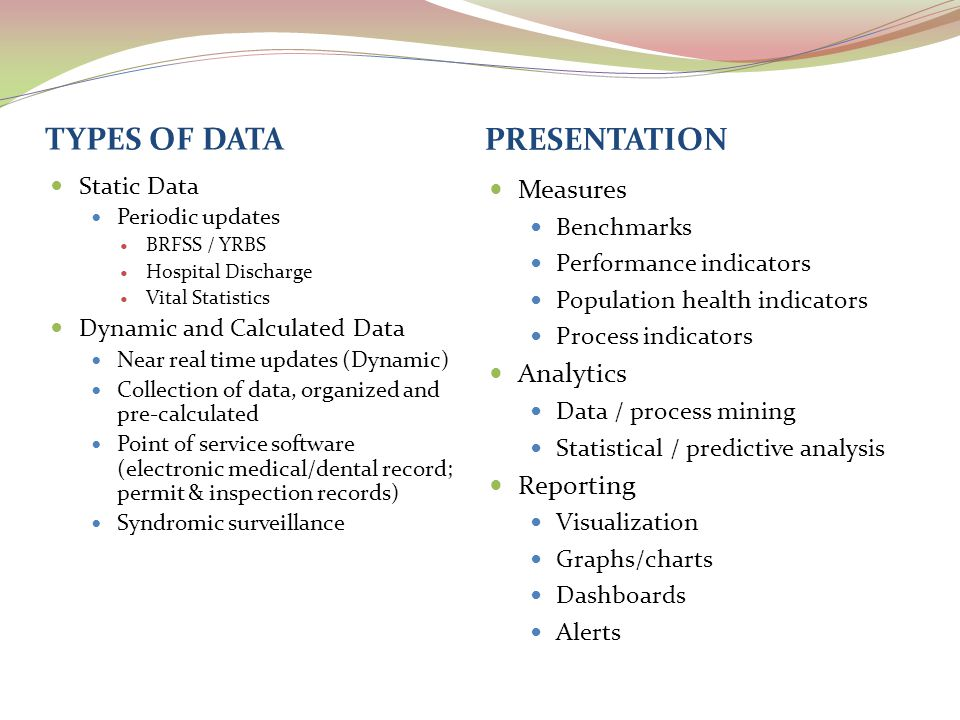 TYPES OF DATA PRESENTATION Static Data Periodic updates BRFSS / YRBS Hospital Discharge Vital Statistics Dynamic and Calculated Data Near real time updates (Dynamic) Collection of data, organized and pre-calculated Point of service software (electronic medical/dental record; permit & inspection records) Syndromic surveillance Measures Benchmarks Performance indicators Population health indicators Process indicators Analytics Data / process mining Statistical / predictive analysis Reporting Visualization Graphs/charts Dashboards Alerts