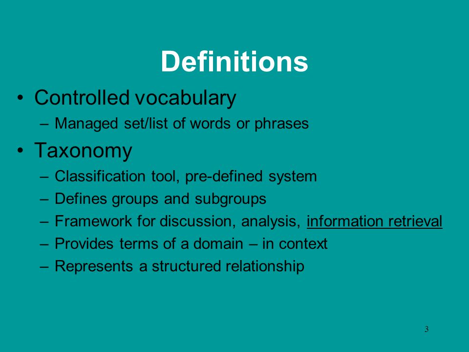 4 Definitions Thesaurus –Reference tool which groups synonyms, defines relationships –Controlled vocabulary –Taxonomy –Examples: www.lub.lu.se/metadata/subject- help.html