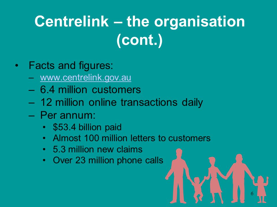 7 Centrelink – the organisation (cont.) 'Government and community sensitive', often rapid change –Policy, legislation, budget initiatives etc –Ansett collapse, Bali bombings, drought, ACT fires Need to 'get it right' Major assets: people, information