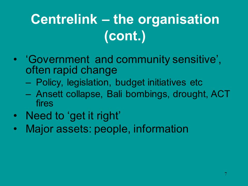 8 Centrelink – I&T context Constant, often rapid, change Substantial costs to change tools, platforms Lotus investment –Desktop tools –Internet platform, search engine, approx 2000+ pages Intranet –Over 45 000 pages –Unix, flat HTML, Cold Fusion applications, Verity search engine