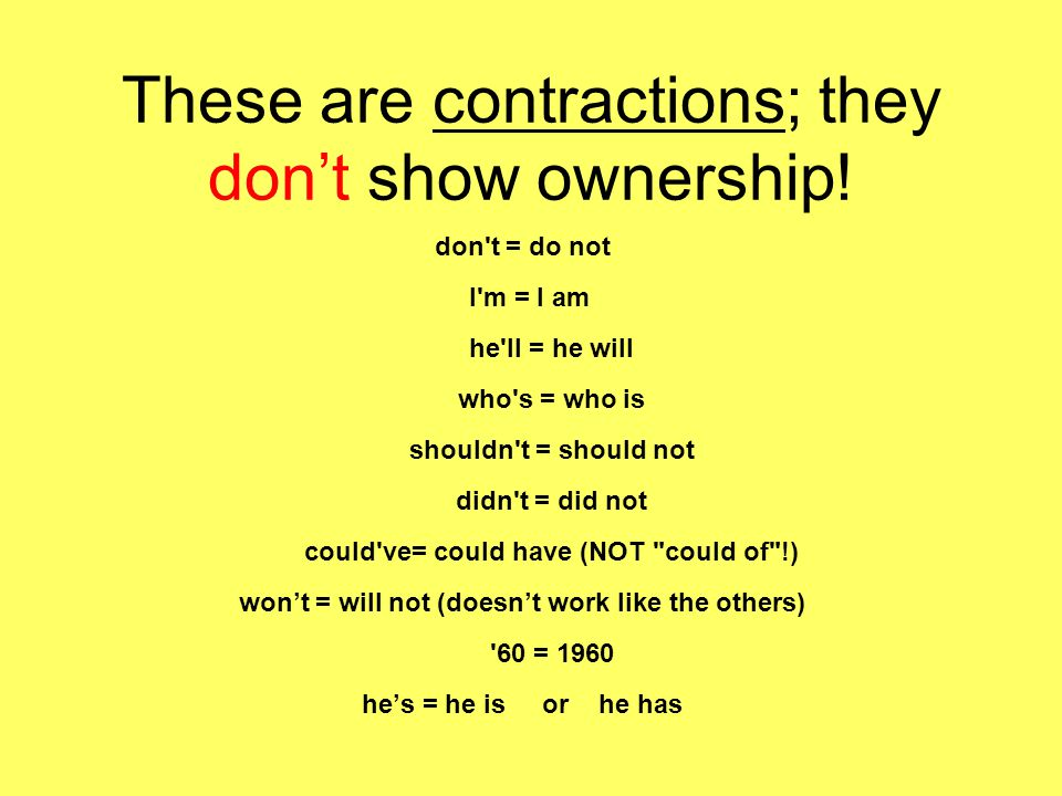 These are contractions; they don't show ownership.
