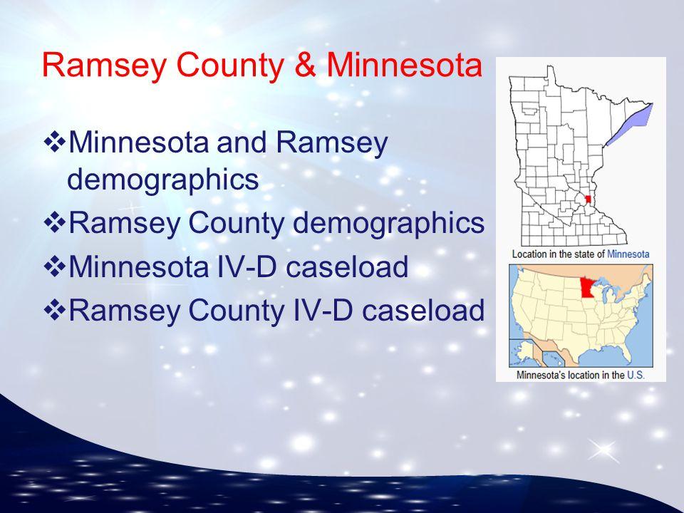 ERICSA 51 st Annual Training Conference & Exposition ▪ May 18 – 22 ▪ Sheraton Greensboro ▪ Greensboro, North Carolina Ramsey County & Minnesota  Minnesota and Ramsey demographics  Ramsey County demographics  Minnesota IV-D caseload  Ramsey County IV-D caseload