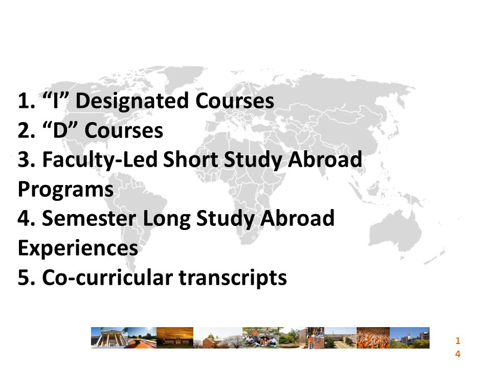 1. I Designated Courses 2. D Courses 3. Faculty-Led Short Study Abroad Programs 4.