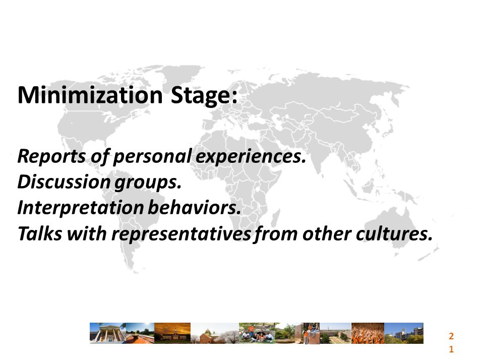Minimization Stage: Reports of personal experiences.