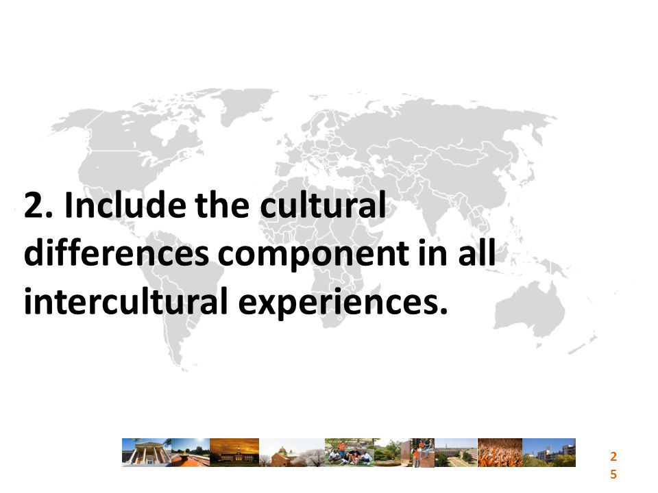 2. Include the cultural differences component in all intercultural experiences. 25