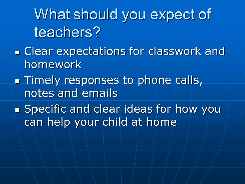 What should you expect of teachers.