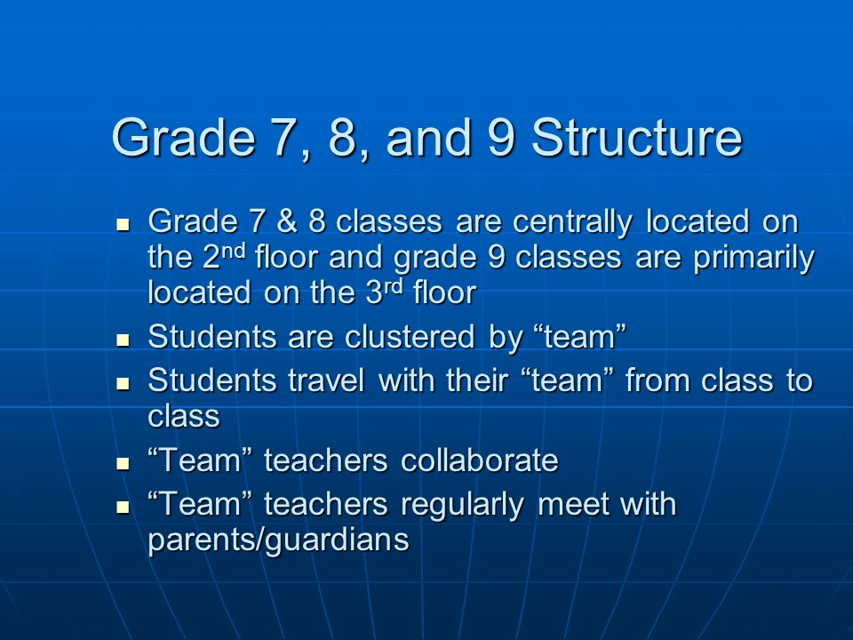 Grade 7, 8, and 9 Structure Grade 7 & 8 classes are centrally located on the 2 nd floor and grade 9 classes are primarily located on the 3 rd floor Grade 7 & 8 classes are centrally located on the 2 nd floor and grade 9 classes are primarily located on the 3 rd floor Students are clustered by team Students are clustered by team Students travel with their team from class to class Students travel with their team from class to class Team teachers collaborate Team teachers collaborate Team teachers regularly meet with parents/guardians Team teachers regularly meet with parents/guardians