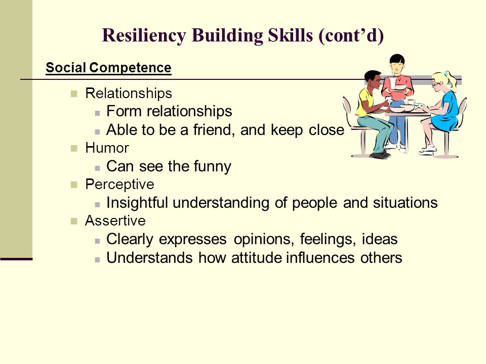 Resiliency Building Skills (cont'd) Social Competence Relationships Form relationships Able to be a friend, and keep close Humor Can see the funny Perceptive Insightful understanding of people and situations Assertive Clearly expresses opinions, feelings, ideas Understands how attitude influences others