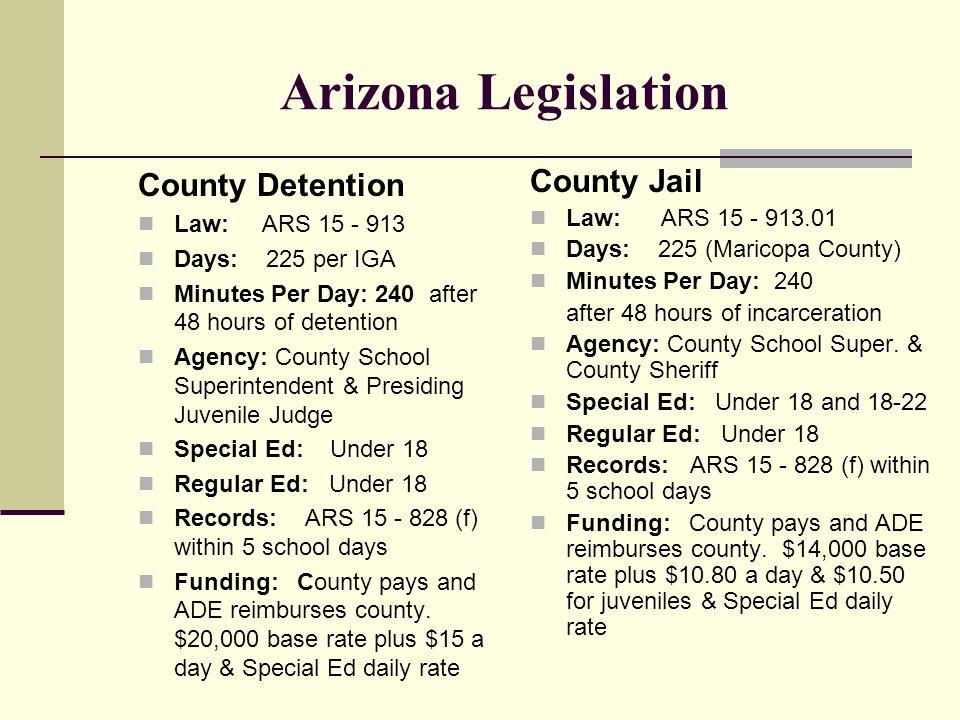 Arizona Legislation Cont'd.