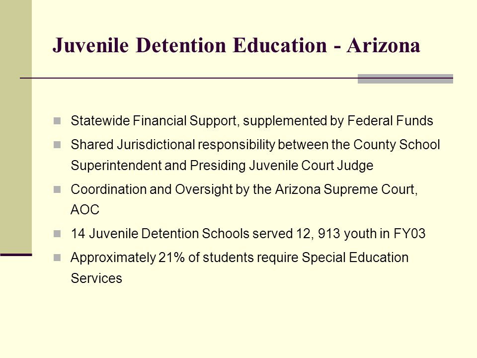 Juvenile Detention Education - Arizona Statewide Financial Support, supplemented by Federal Funds Shared Jurisdictional responsibility between the County School Superintendent and Presiding Juvenile Court Judge Coordination and Oversight by the Arizona Supreme Court, AOC 14 Juvenile Detention Schools served 12, 913 youth in FY03 Approximately 21% of students require Special Education Services