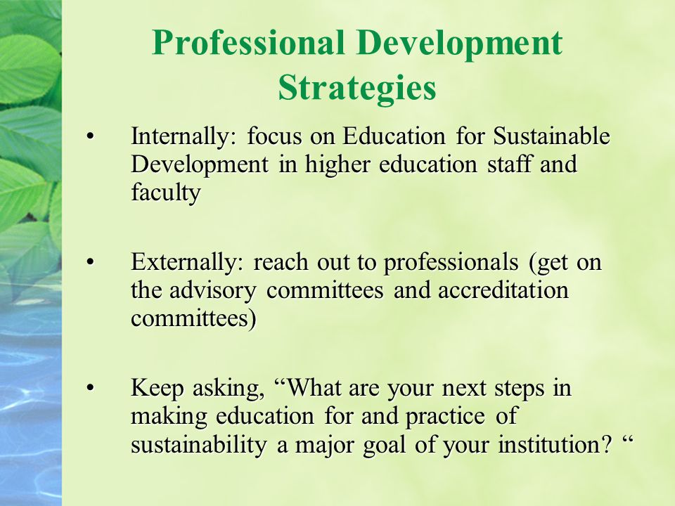 Professional Development Strategies Internally: focus on Education for Sustainable Development in higher education staff and facultyInternally: focus on Education for Sustainable Development in higher education staff and faculty Externally: reach out to professionals (get on the advisory committees and accreditation committees)Externally: reach out to professionals (get on the advisory committees and accreditation committees) Keep asking, What are your next steps in making education for and practice of sustainability a major goal of your institution.