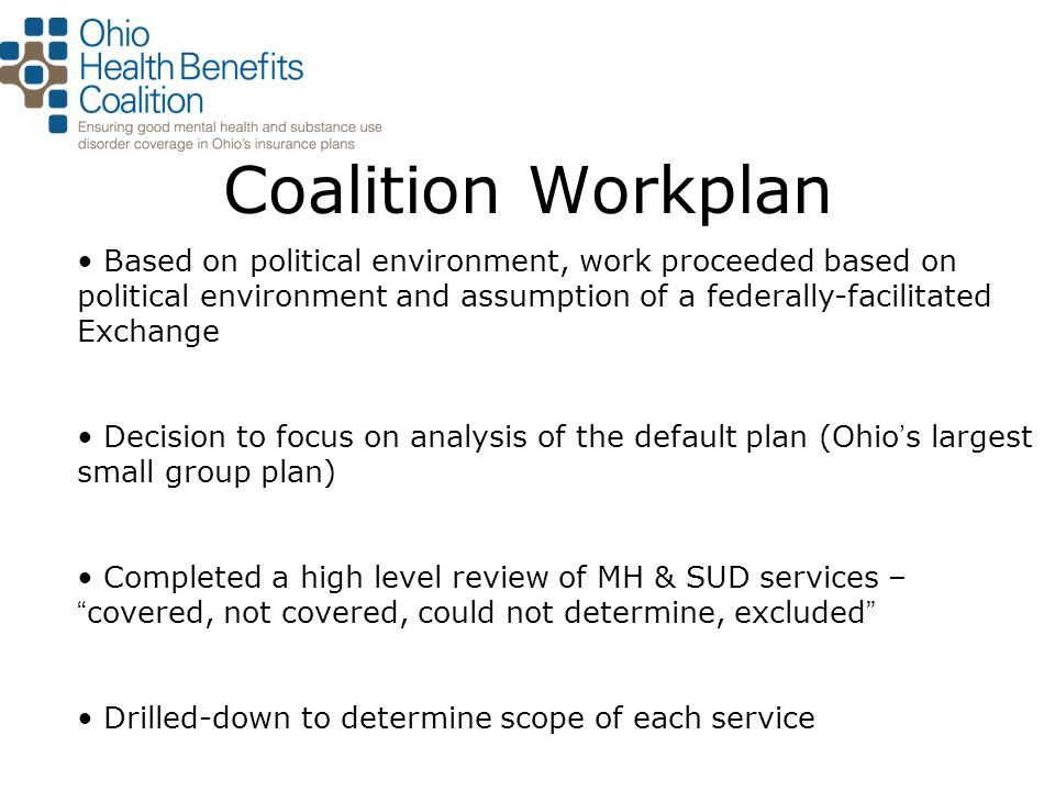 Coalition Workplan Based on political environment, work proceeded based on political environment and assumption of a federally-facilitated Exchange De