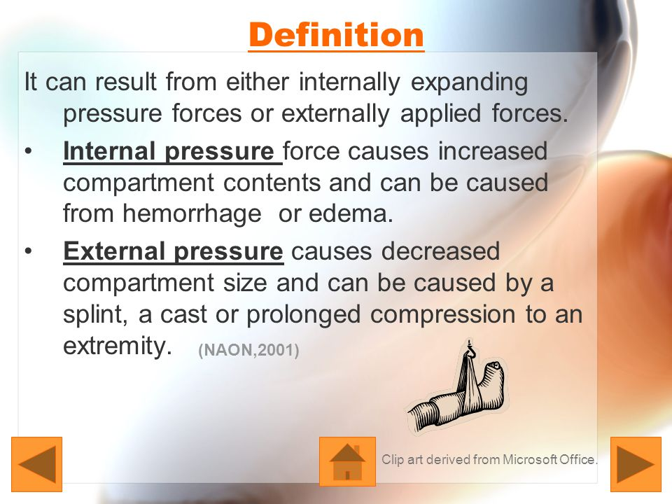 Pathophysiology When the pressure in the compartments exceeds the capillary pressure of the tissues, perfusion stops and the tissues become ischemic.