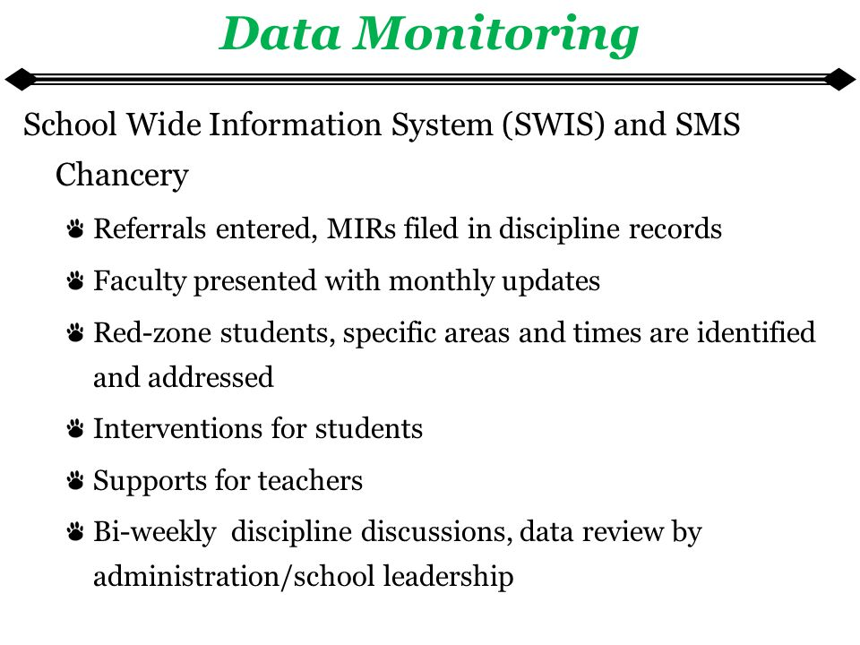 Data Monitoring School Wide Information System (SWIS) and SMS Chancery Referrals entered, MIRs filed in discipline records Faculty presented with monthly updates Red-zone students, specific areas and times are identified and addressed Interventions for students Supports for teachers Bi-weekly discipline discussions, data review by administration/school leadership