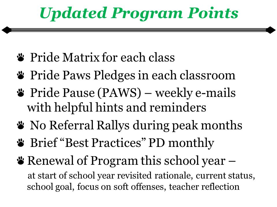 Updated Program Points Pride Matrix for each class Pride Paws Pledges in each classroom Pride Pause (PAWS) – weekly e-mails with helpful hints and reminders No Referral Rallys during peak months Brief Best Practices PD monthly Renewal of Program this school year – at start of school year revisited rationale, current status, school goal, focus on soft offenses, teacher reflection