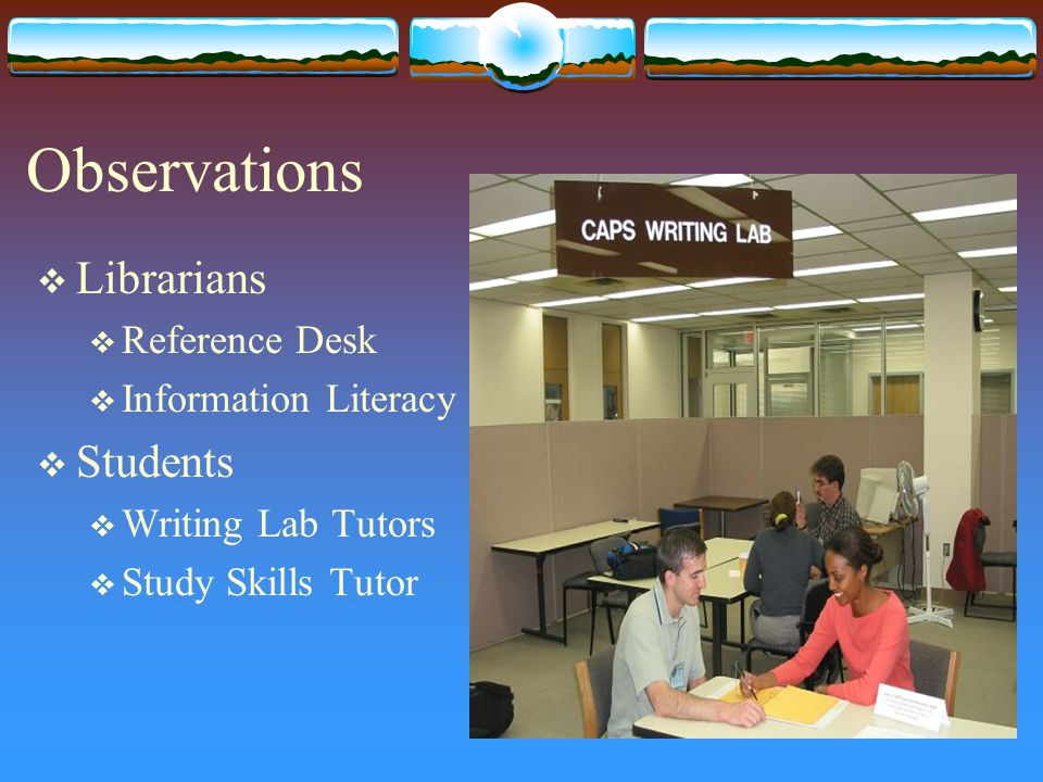 Observations  Librarians  Reference Desk  Information Literacy  Students  Writing Lab Tutors  Study Skills Tutor