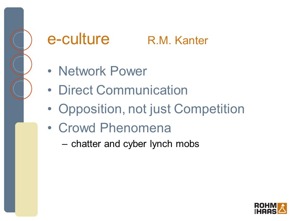 e-culture R.M. Kanter Network Power Direct Communication Opposition, not just Competition Crowd Phenomena –chatter and cyber lynch mobs