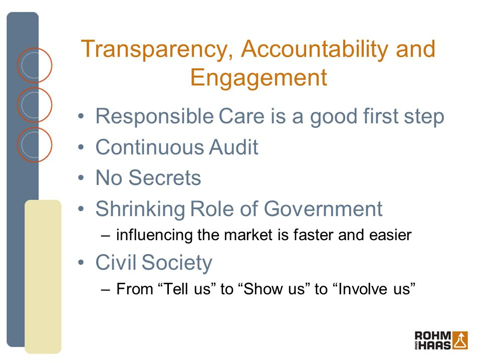 Transparency, Accountability and Engagement Responsible Care is a good first step Continuous Audit No Secrets Shrinking Role of Government –influencing the market is faster and easier Civil Society –From Tell us to Show us to Involve us
