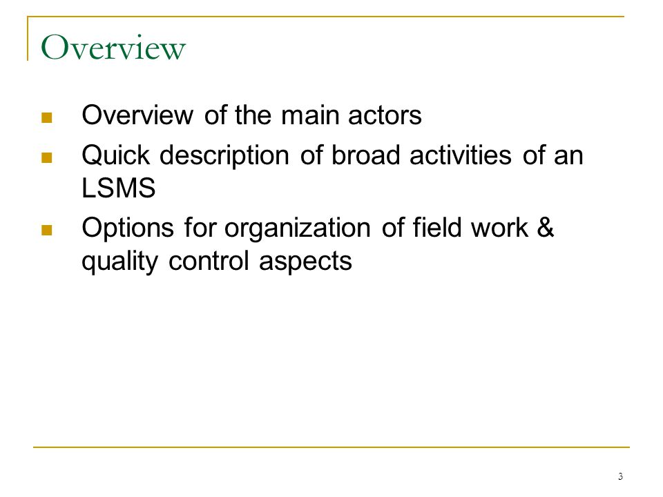 3 Overview Overview of the main actors Quick description of broad activities of an LSMS Options for organization of field work & quality control aspects