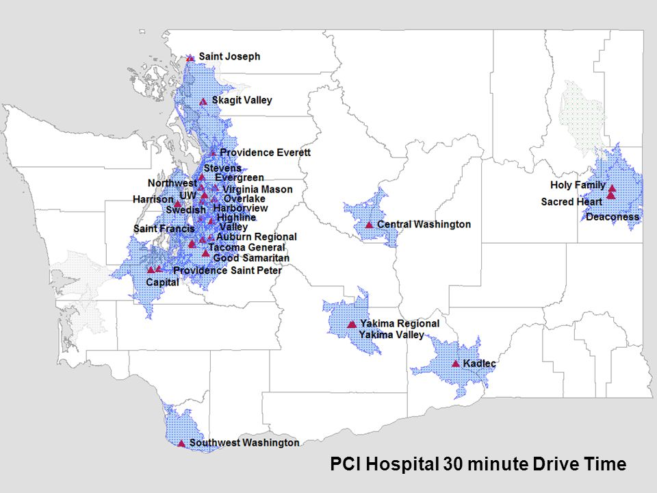 PCI Hospital 30 minute Drive Time