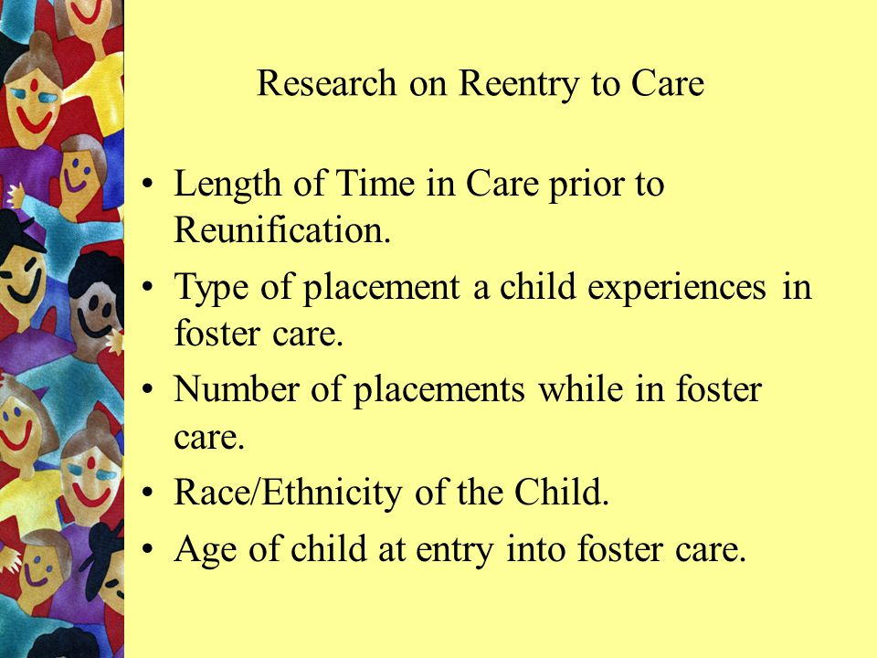 Festinger, T. (1994). Returning to Care: Discharge and Reentry into Foster Care.