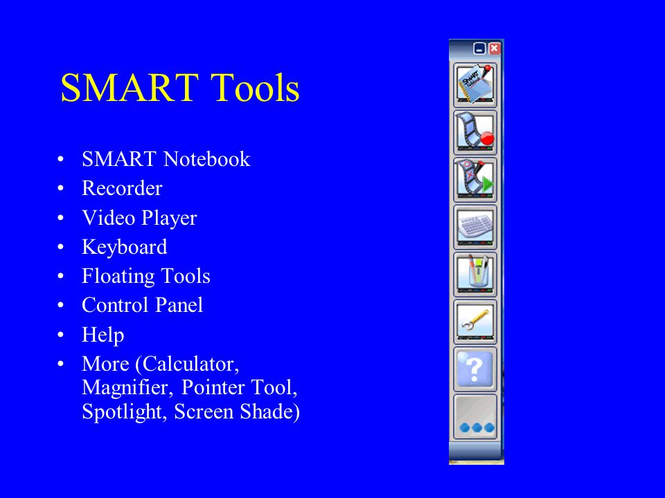 SMART Tools SMART Notebook Recorder Video Player Keyboard Floating Tools Control Panel Help More (Calculator, Magnifier, Pointer Tool, Spotlight, Scre