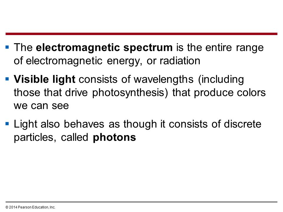  The electromagnetic spectrum is the entire range of electromagnetic energy, or radiation  Visible light consists of wavelengths (including those th