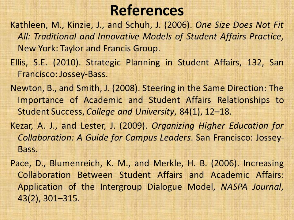 References Kathleen, M., Kinzie, J., and Schuh, J.