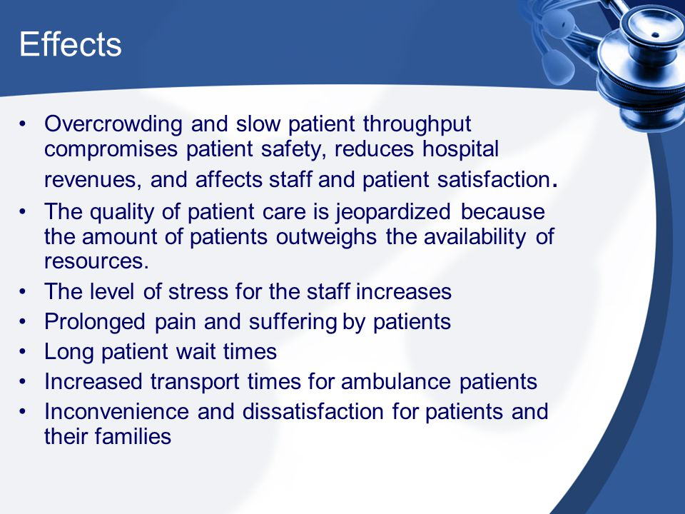 Effects Overcrowding and slow patient throughput compromises patient safety, reduces hospital revenues, and affects staff and patient satisfaction.
