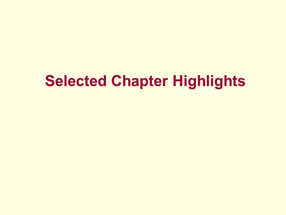 Selected Chapter Highlights