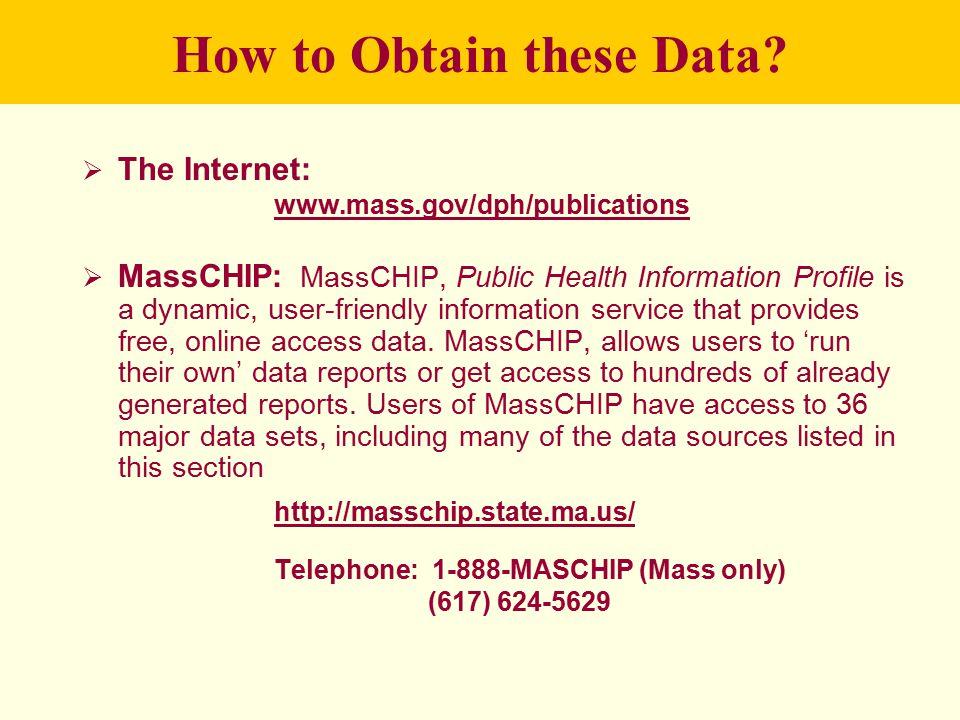 How to Obtain these Data?  The Internet: www.mass.gov/dph/publications  MassCHIP: MassCHIP, Public Health Information Profile is a dynamic, user-fri