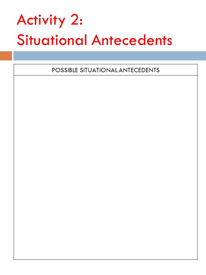 Activity 2: Situational Antecedents POSSIBLE SITUATIONAL ANTECEDENTS