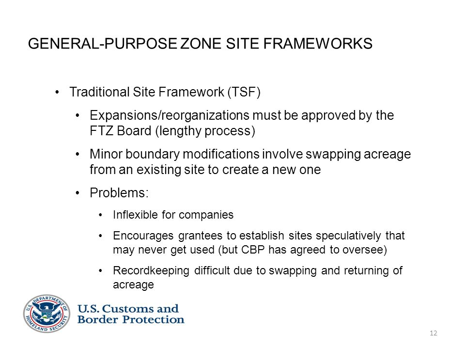 12 GENERAL-PURPOSE ZONE SITE FRAMEWORKS Traditional Site Framework (TSF) Expansions/reorganizations must be approved by the FTZ Board (lengthy process) Minor boundary modifications involve swapping acreage from an existing site to create a new one Problems: Inflexible for companies Encourages grantees to establish sites speculatively that may never get used (but CBP has agreed to oversee) Recordkeeping difficult due to swapping and returning of acreage