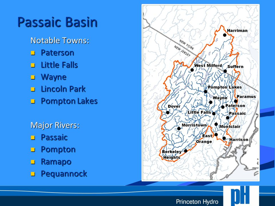 Passaic Basin Facts The densely populated Passaic River Basin has experienced severe flooding events throughout the twentieth and into the twenty-first century.