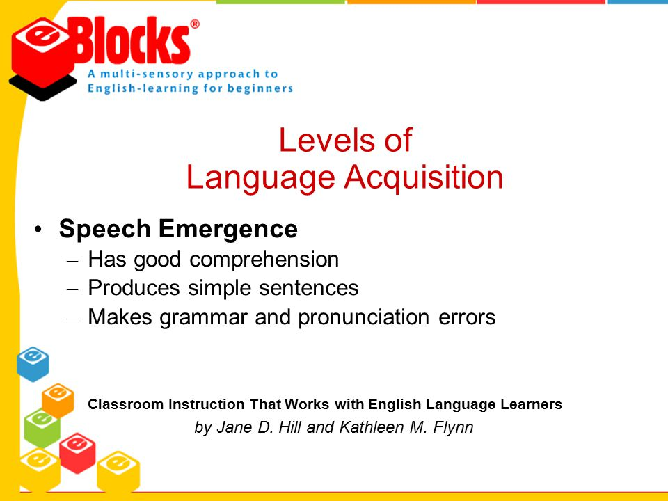 Speech Emergence – Has good comprehension – Produces simple sentences – Makes grammar and pronunciation errors Classroom Instruction That Works with E