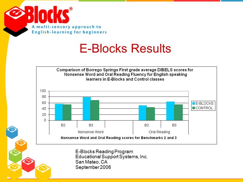 E-Blocks Results E-Blocks Reading Program Educational Support Systems, Inc. San Mateo, CA September 2006