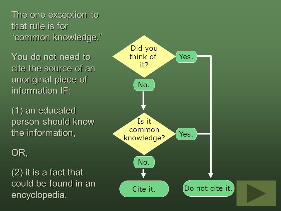 """The one exception to that rule is for """"common knowledge."""" You do not need to cite the source of an unoriginal piece of information IF: (1) an educated"""