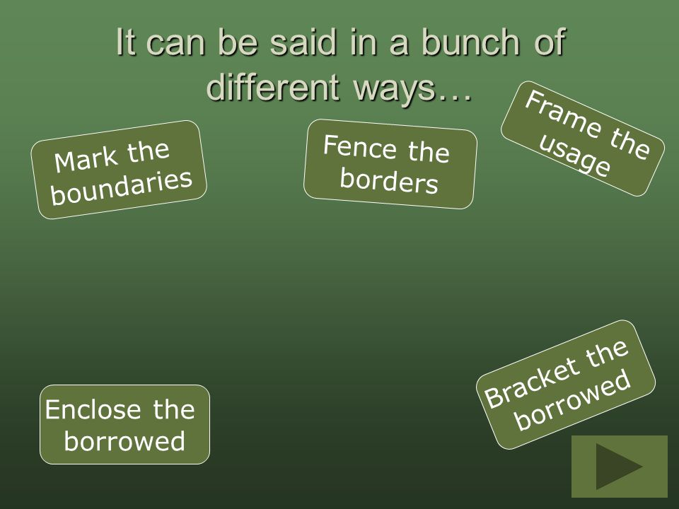 It can be said in a bunch of different ways… Mark the boundaries Frame the usage Enclose the borrowed Fence the borders Bracket the borrowed