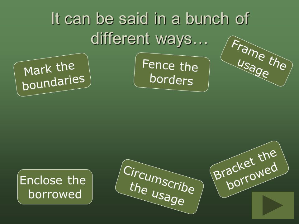 It can be said in a bunch of different ways… Mark the boundaries Frame the usage Enclose the borrowed Fence the borders Circumscribe the usage Bracket