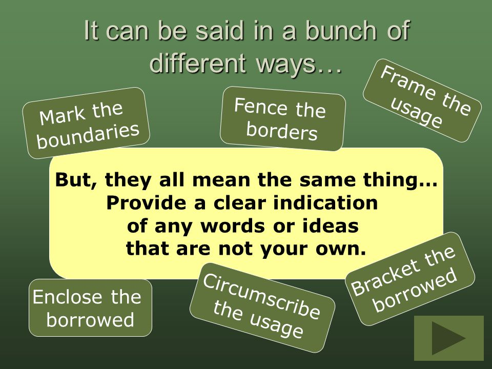 But, they all mean the same thing… Provide a clear indication of any words or ideas that are not your own. It can be said in a bunch of different ways