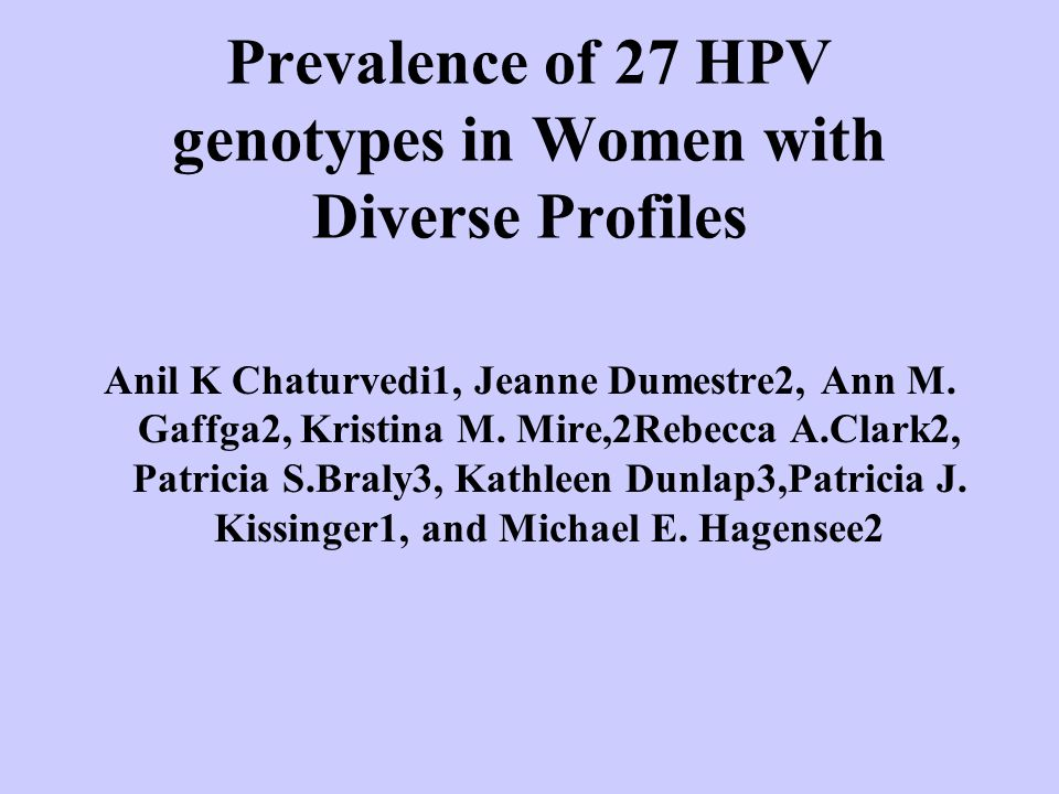 Prevalence of 27 HPV genotypes in Women with Diverse Profiles Anil K Chaturvedi1, Jeanne Dumestre2, Ann M.