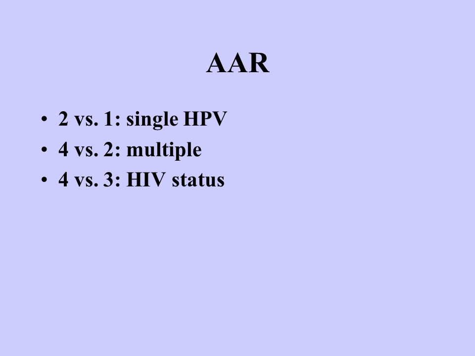 AAR 2 vs. 1: single HPV 4 vs. 2: multiple 4 vs. 3: HIV status