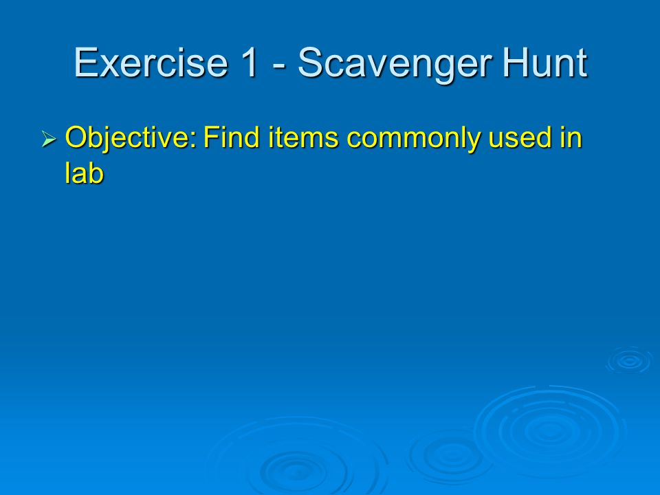 Exercise 1 - Scavenger Hunt  Objective: Find items commonly used in lab