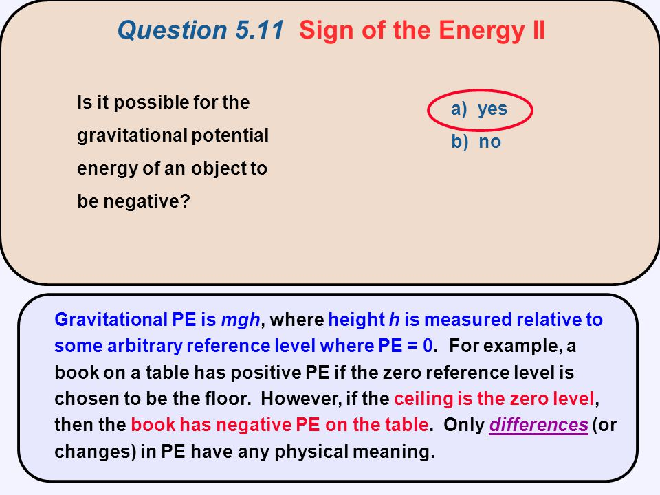 Is it possible for the gravitational potential energy of an object to be negative? a) yes b) no Gravitational PE is mgh, where height h is measured re