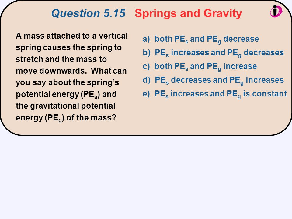 A mass attached to a vertical spring causes the spring to stretch and the mass to move downwards. What can you say about the spring's potential energy