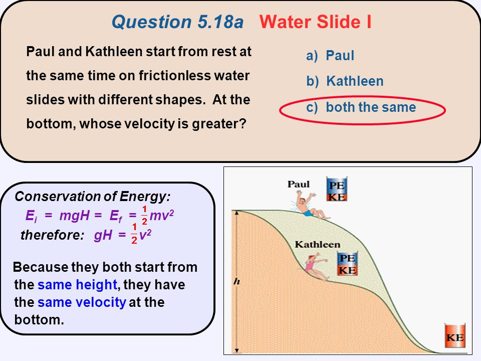 Question 5.18a Water Slide I a) Paul b) Kathleen c) both the same Paul and Kathleen start from rest at the same time on frictionless water slides with