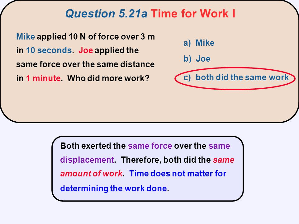 Both exerted the same force over the same displacement. Therefore, both did the same amount of work. Time does not matter for determining the work don