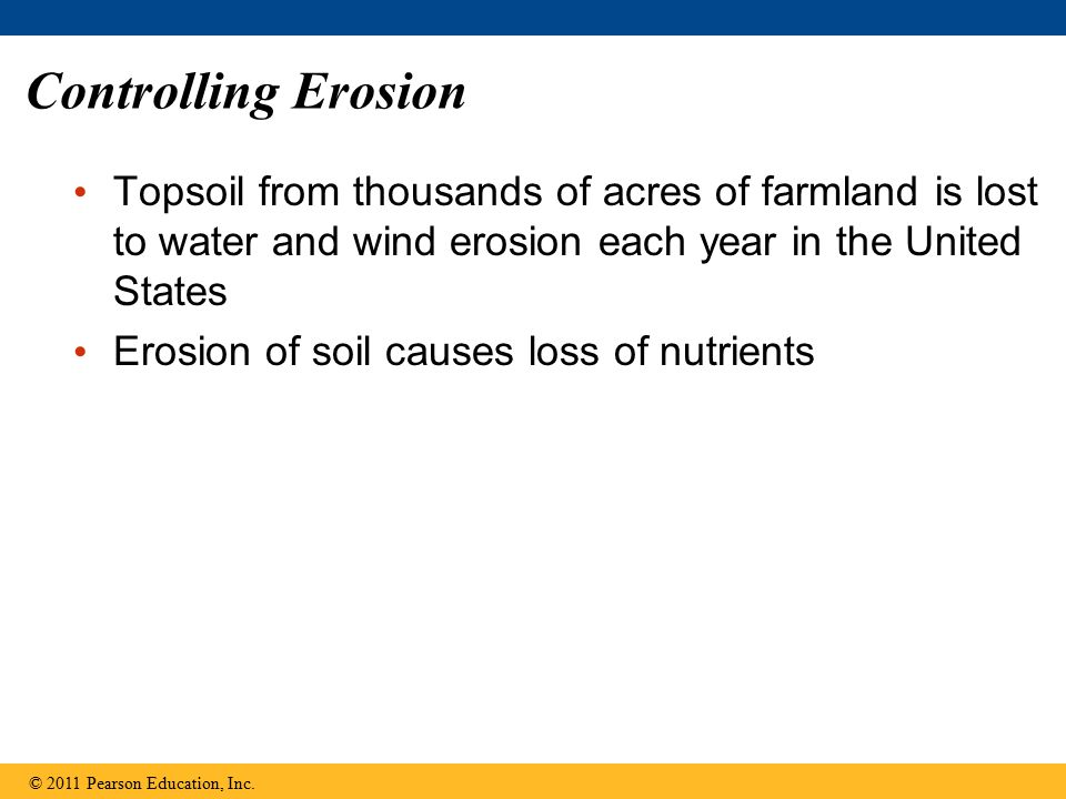 Controlling Erosion Topsoil from thousands of acres of farmland is lost to water and wind erosion each year in the United States Erosion of soil causes loss of nutrients © 2011 Pearson Education, Inc.