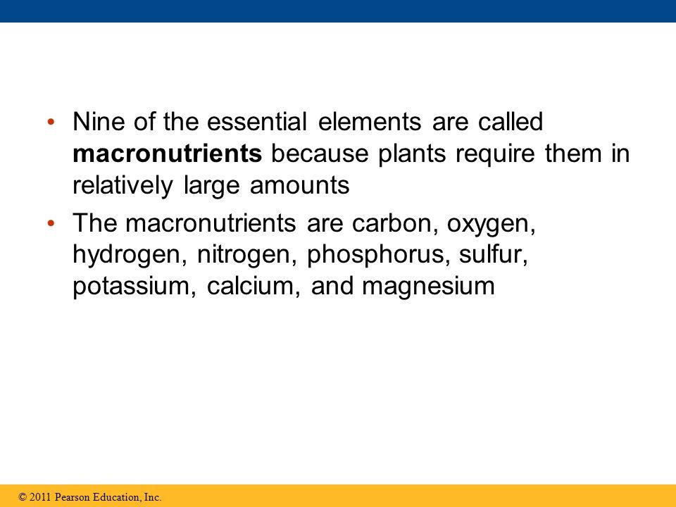 Nine of the essential elements are called macronutrients because plants require them in relatively large amounts The macronutrients are carbon, oxygen, hydrogen, nitrogen, phosphorus, sulfur, potassium, calcium, and magnesium © 2011 Pearson Education, Inc.